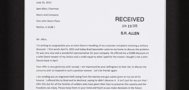 Deere CEO Displays Letter as Customer Service Reminder