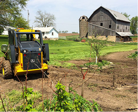 """Helping out with some landscaping on the farm."""