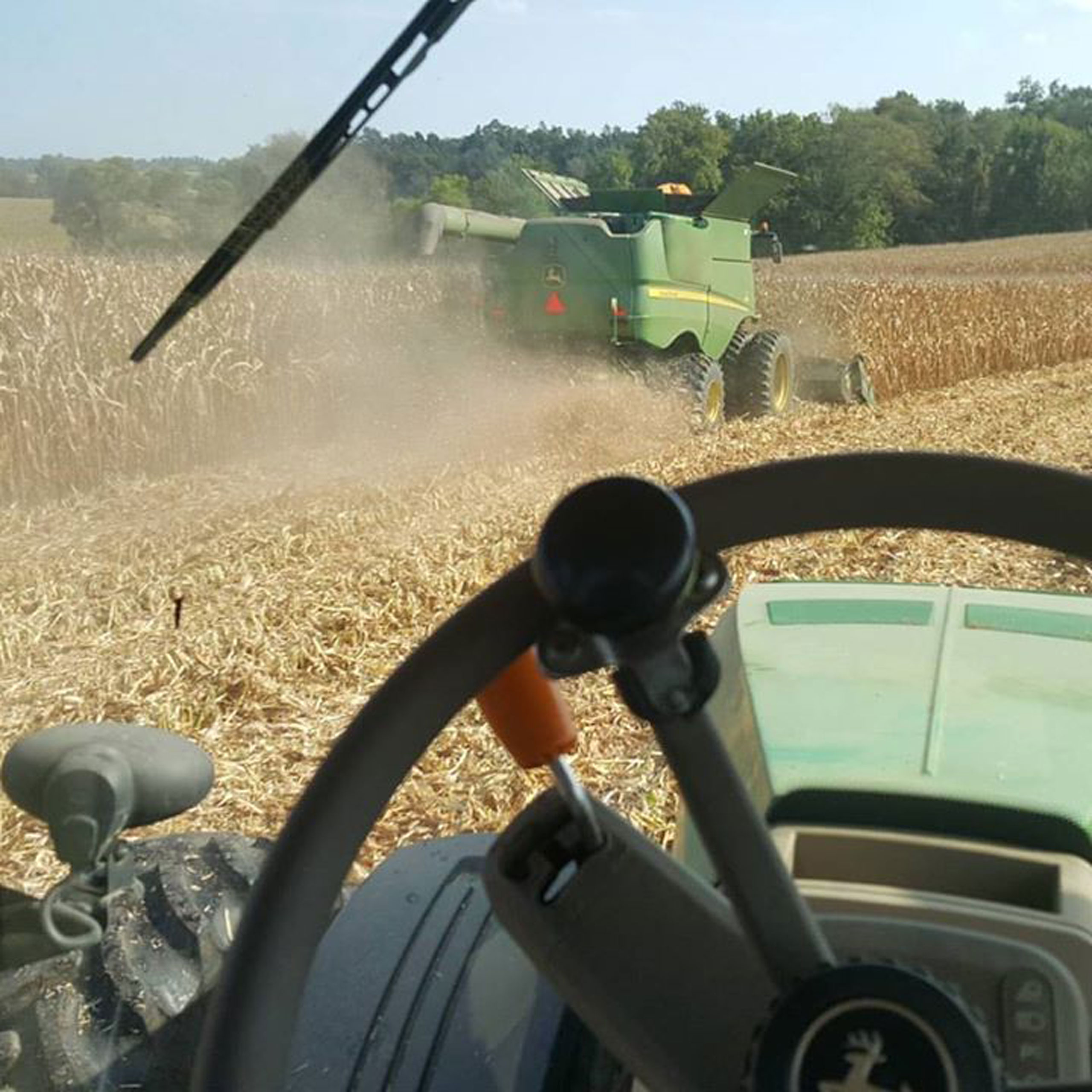 Watching corn harvest in York, Pennsylvania.