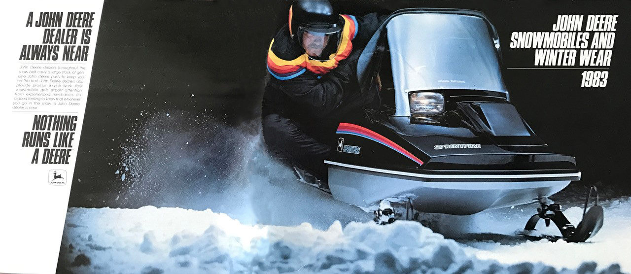 Early 1980s advertisement for John Deere snowmobiles.