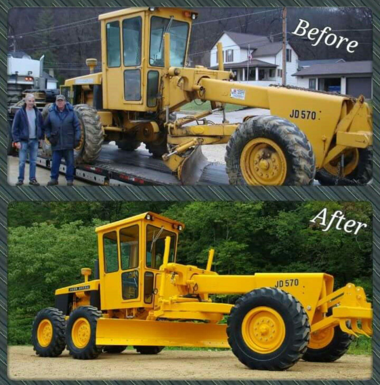 The 570 Motor Grader, before and after Don and Jerry restored it.